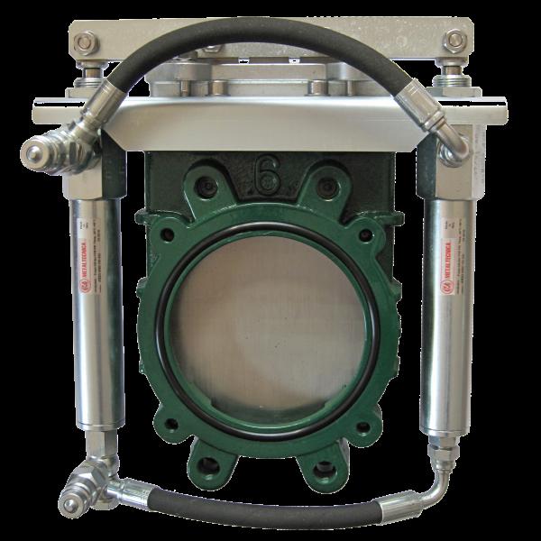 Gusseisen Plattenschieber mit doppelwirkendem Hydraulikzylinder - kompakt o.A.