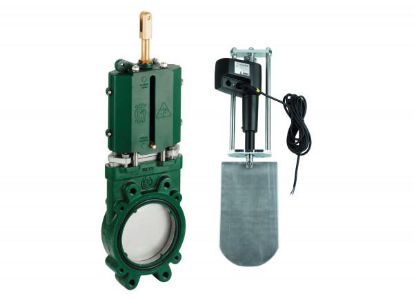 Gusseisen Plattenschieber mit elektrischem Zylinder 12 Volt o.A.